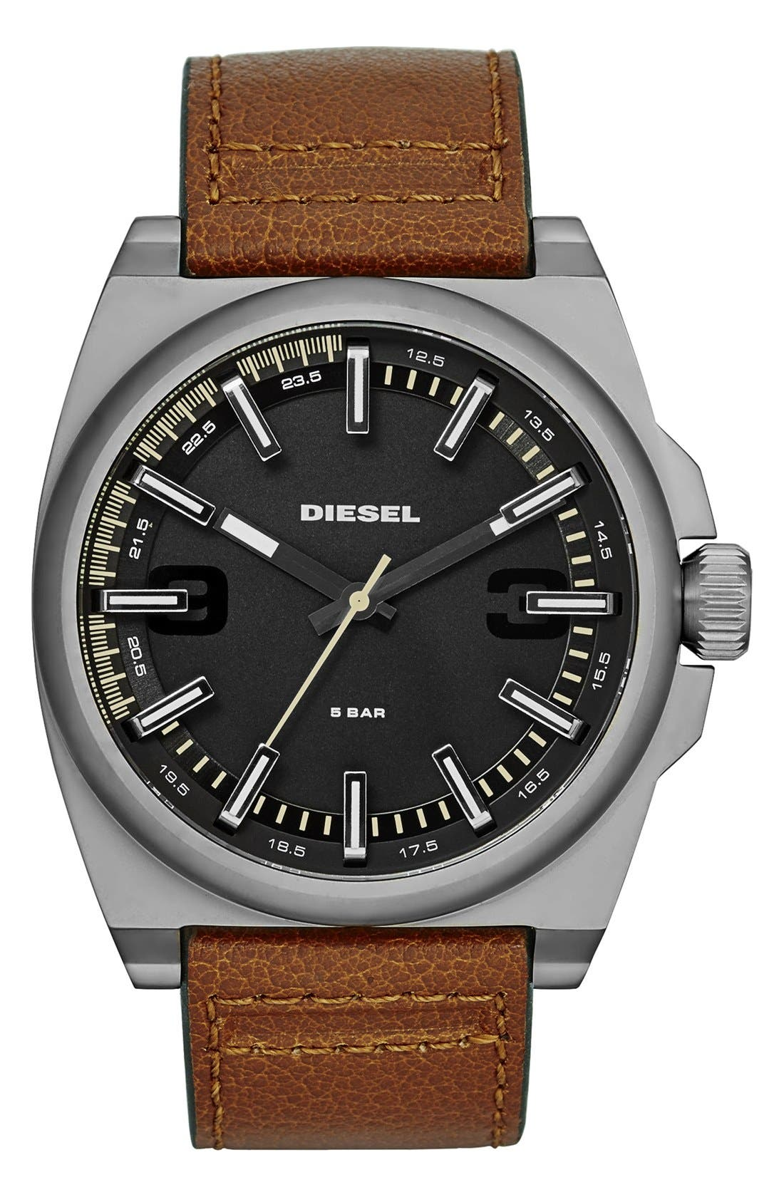 Main Image - DIESEL® 'SC2' Leather Strap Watch, 46mm