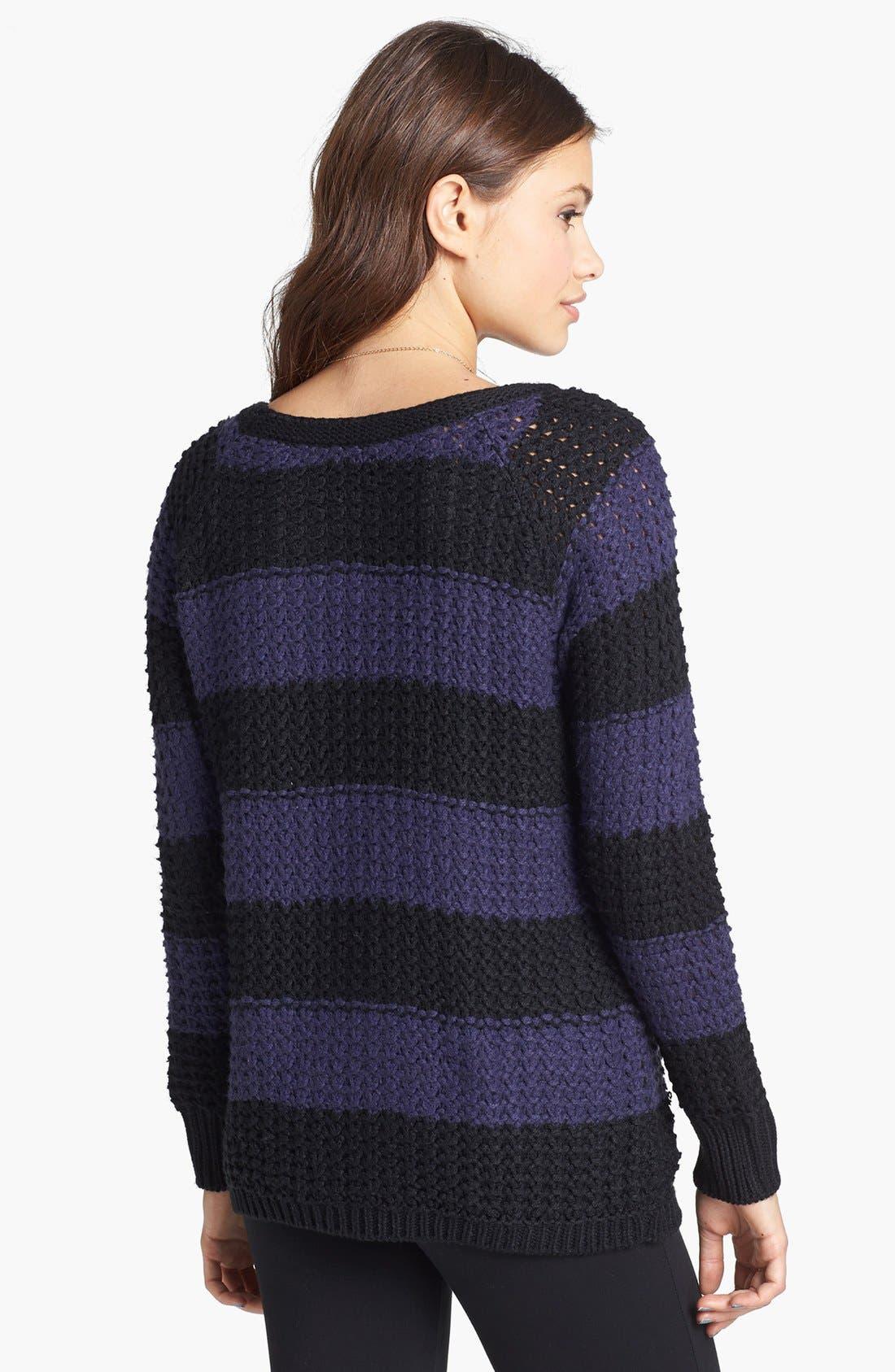Alternate Image 2  - Rubbish® Stripe Cabled Sweater (Juniors)