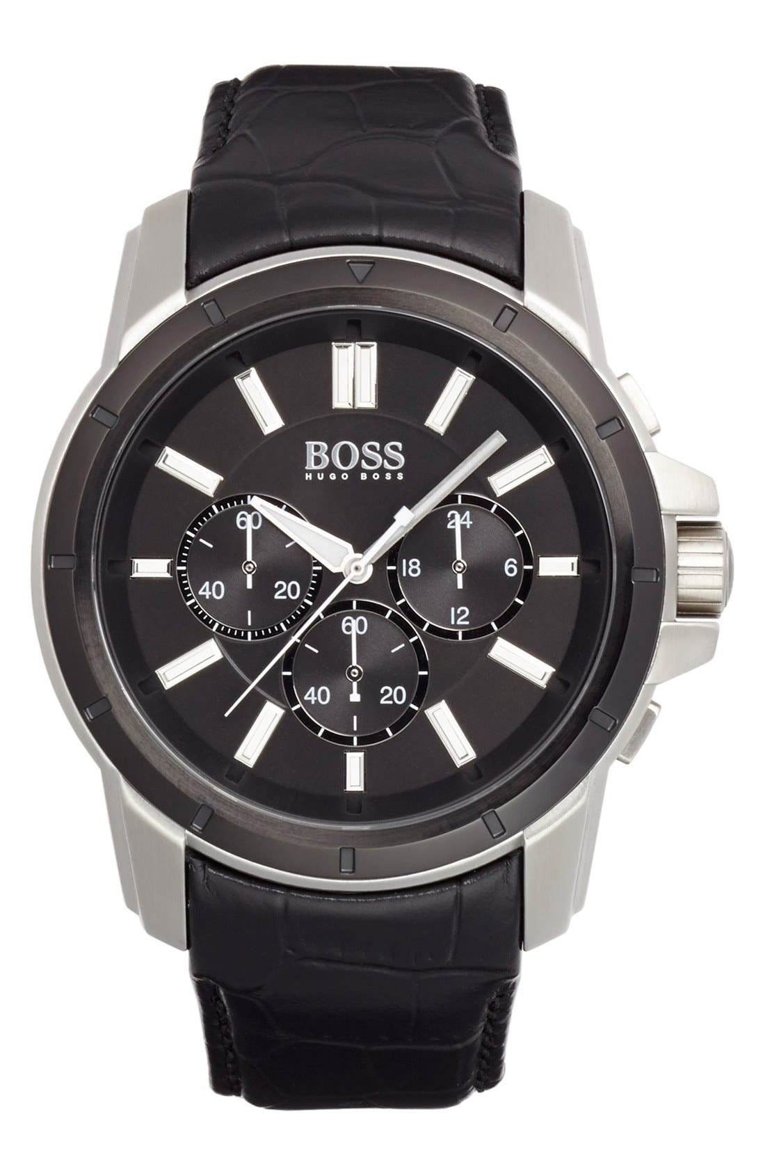 Main Image - BOSS HUGO BOSS Chronograph Leather Strap Watch, 46mm