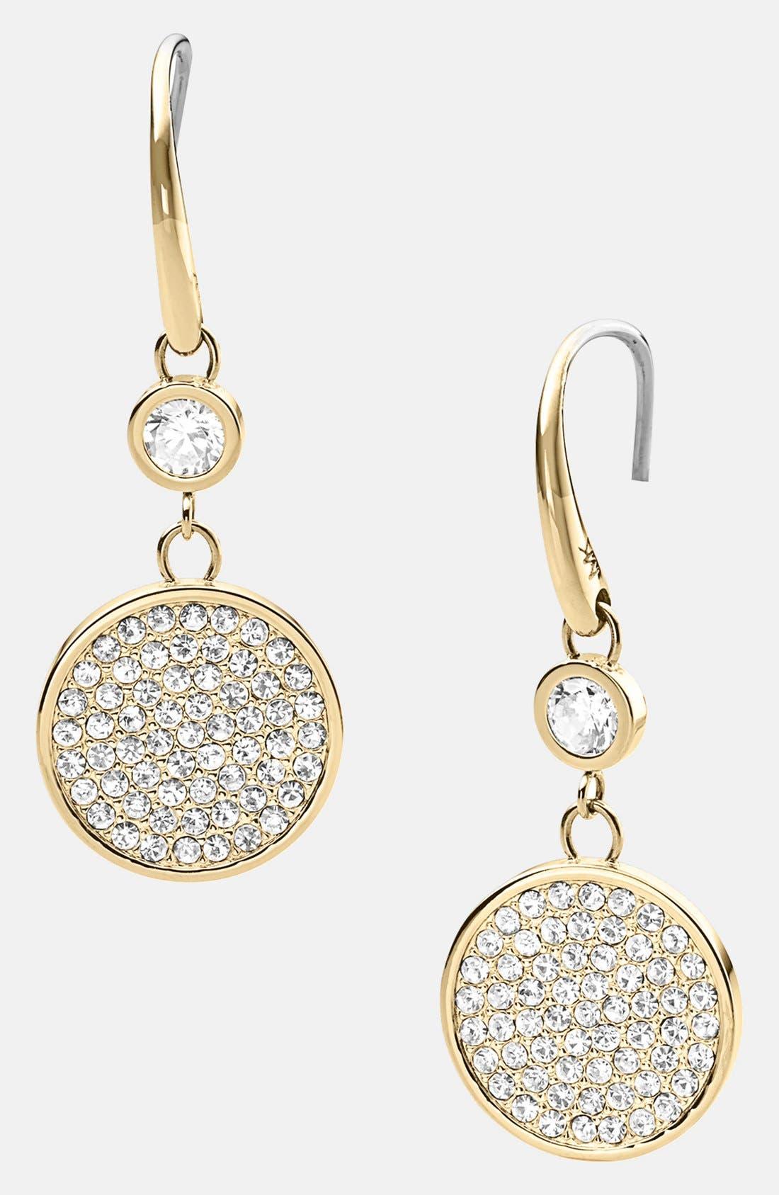 Main Image - Michael Kors 'Brilliance' Pavé Disc Drop Earrings