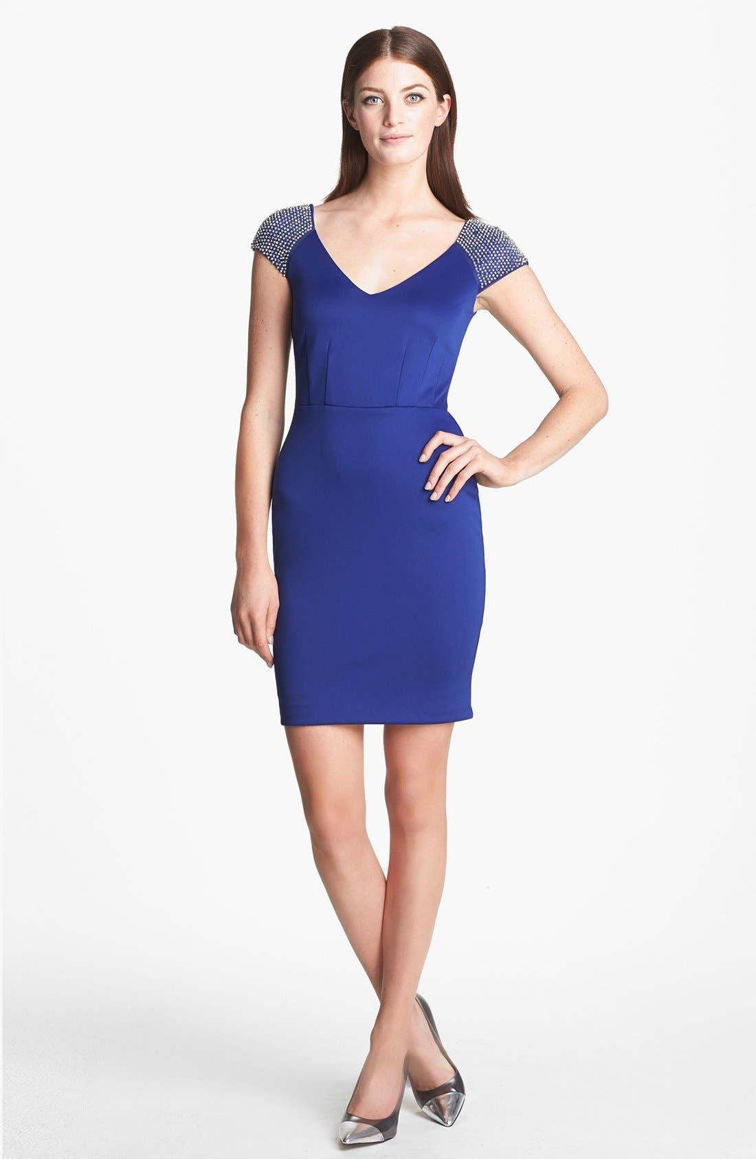 Alternate Image 1 Selected - Alexia Admor Studded Pont Knit Sheath Dress