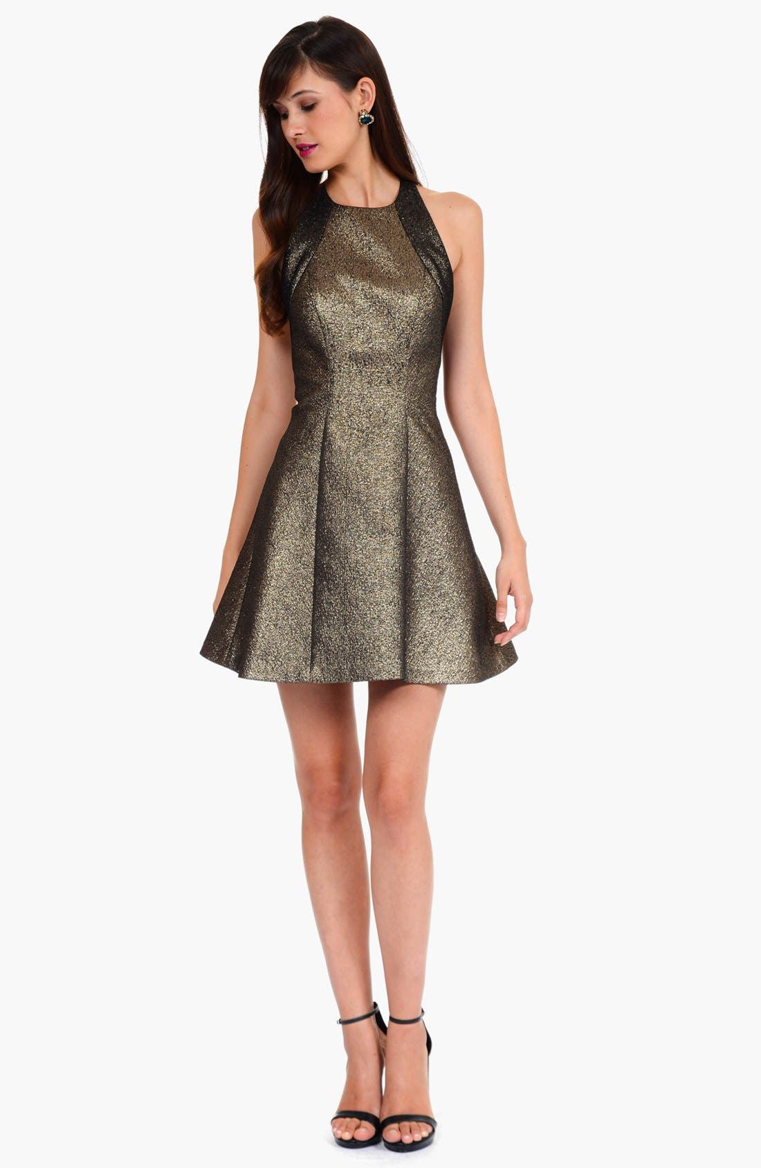 Alternate Image 1 Selected - Phoebe by Kay Unger Metallic Racerback Fit & Flare Dress