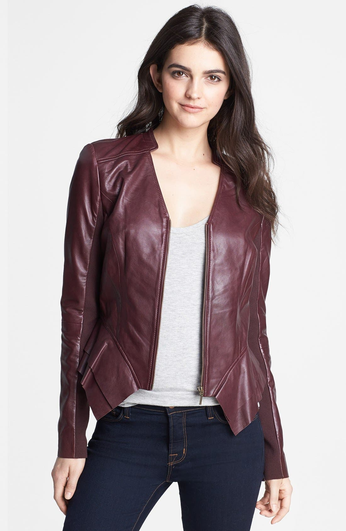 Alternate Image 1 Selected - Hinge Leather Peplum Jacket
