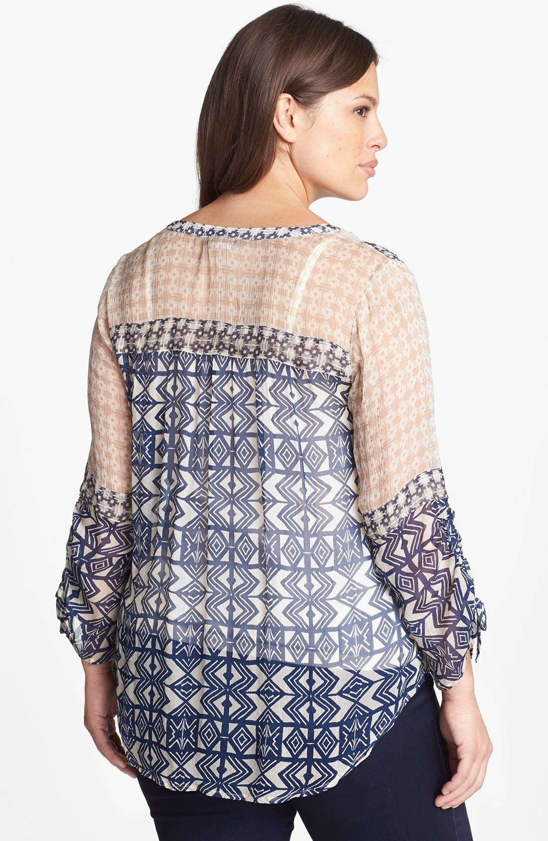 Alternate Image 2  - Lucky Brand Mixed Print Peasant Top (Plus Size)