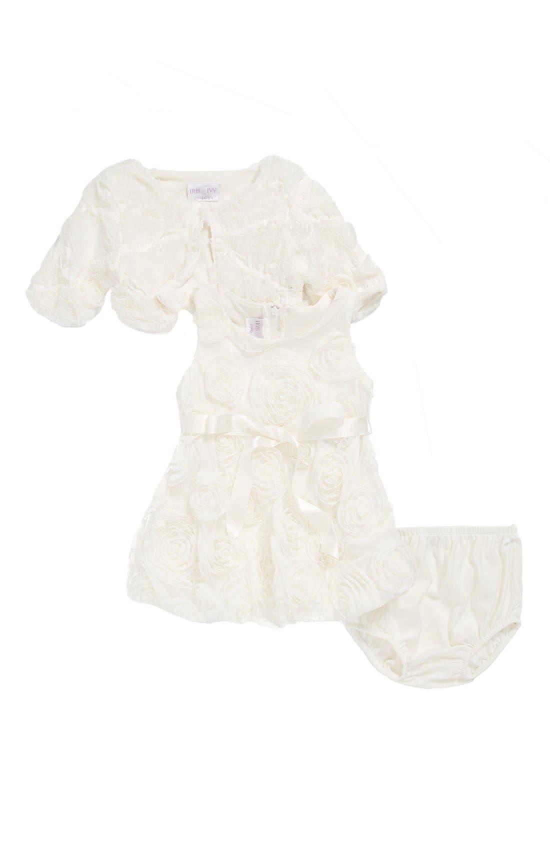 Alternate Image 1 Selected - Iris & Ivy Rosette Dress, Faux Fur Bolero & Bloomers (Baby Girls)