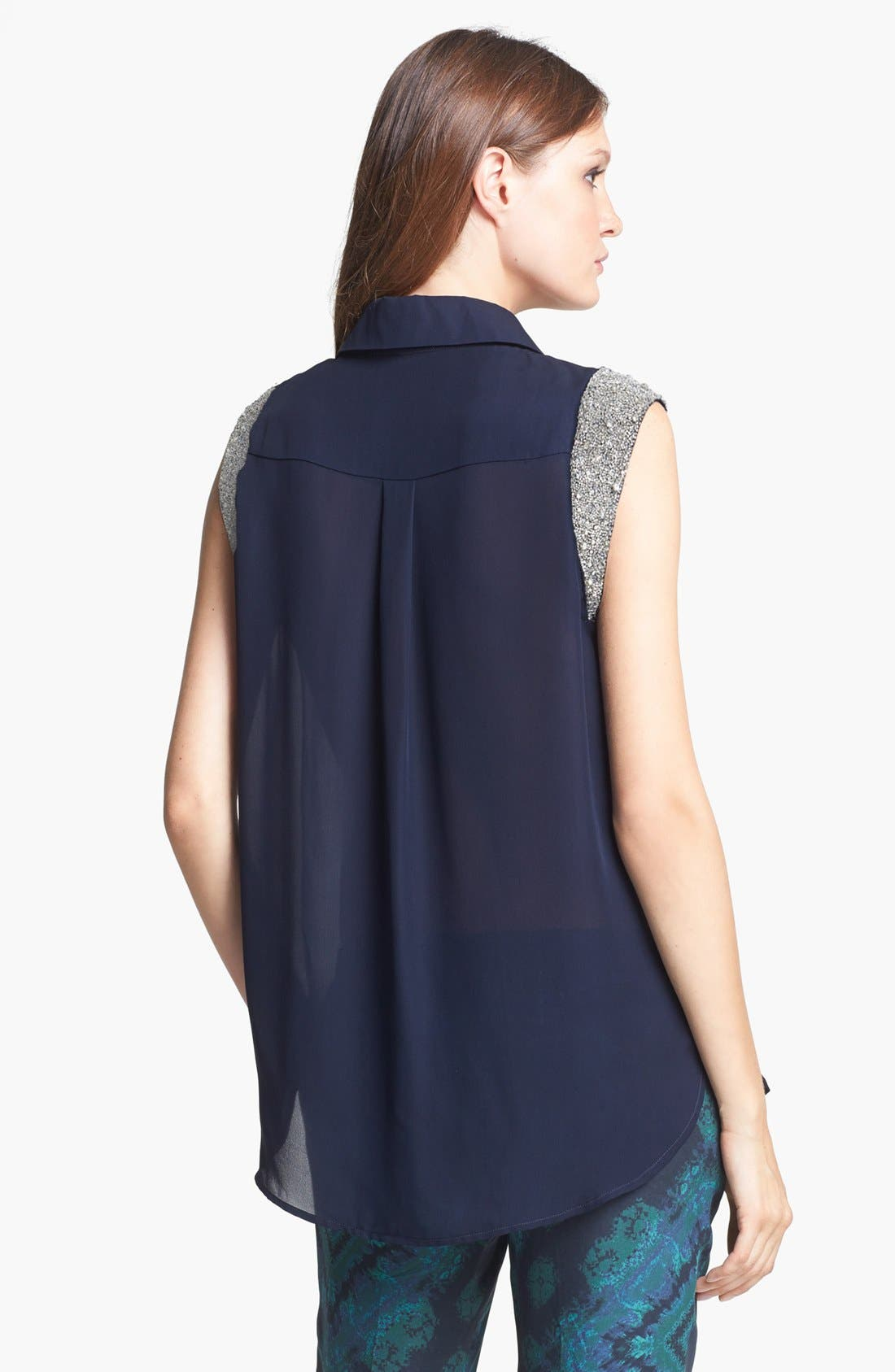 Alternate Image 2  - Haute Hippie Embellished Sleeve Silk Blouse