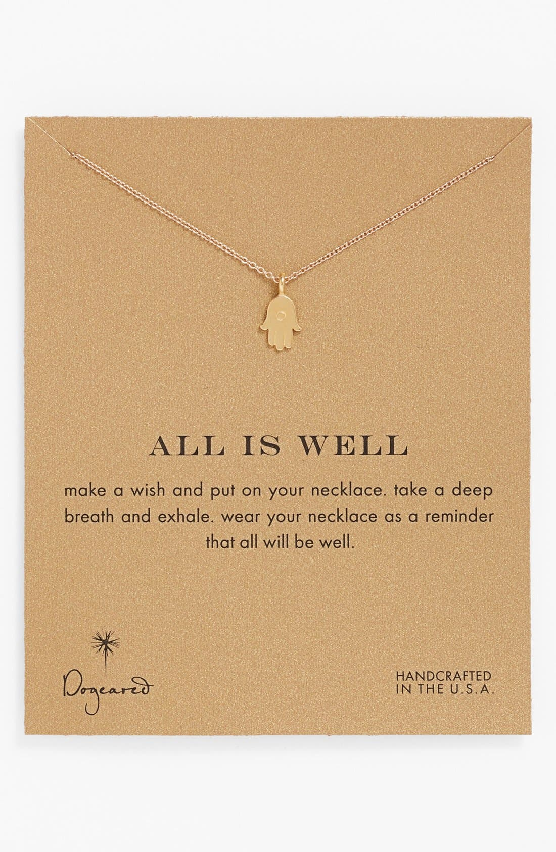 Main Image - Dogeared 'Reminder - All is Well' Boxed Hamsa Pendant Necklace
