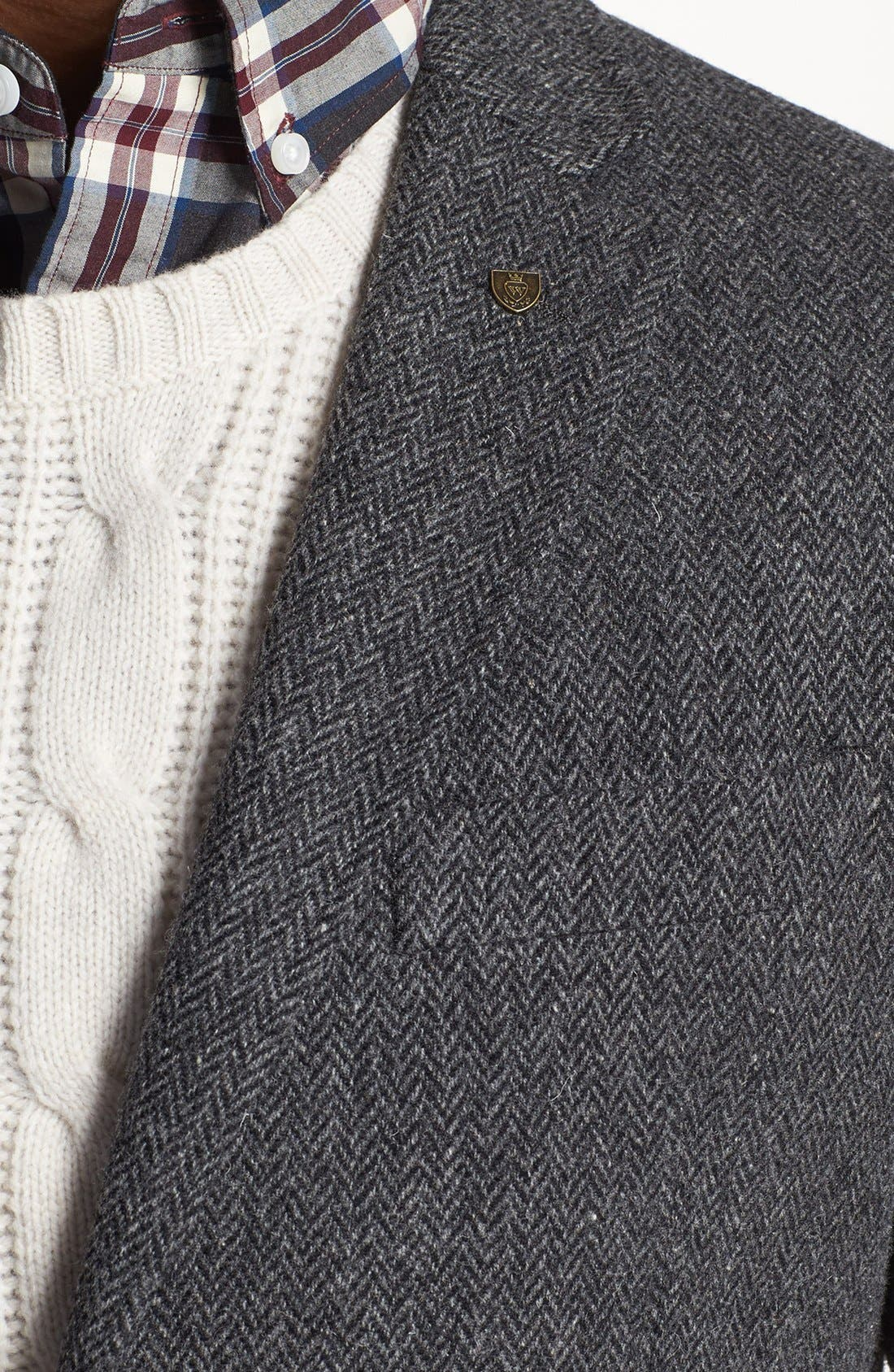 Alternate Image 2  - Wallin & Bros. Extra Trim Fit Herringbone Sportcoat