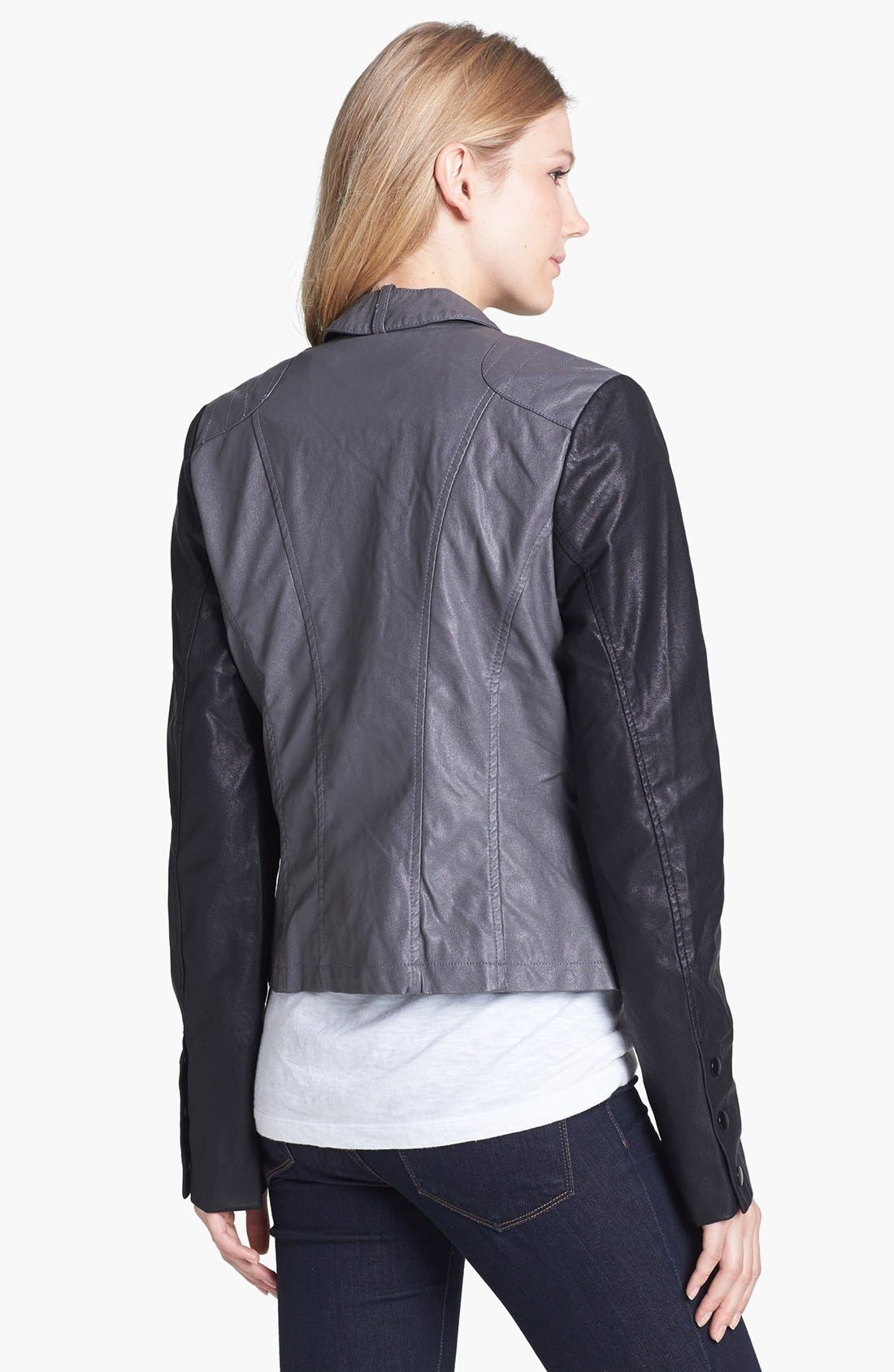 Alternate Image 2  - KUT from the Kloth Contrast Sleeve Faux Leather Jacket