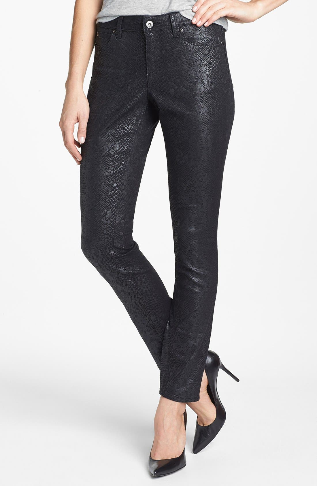 Alternate Image 1 Selected - Two by Vince Camuto Foiled Snakeskin Print Skinny Jeans