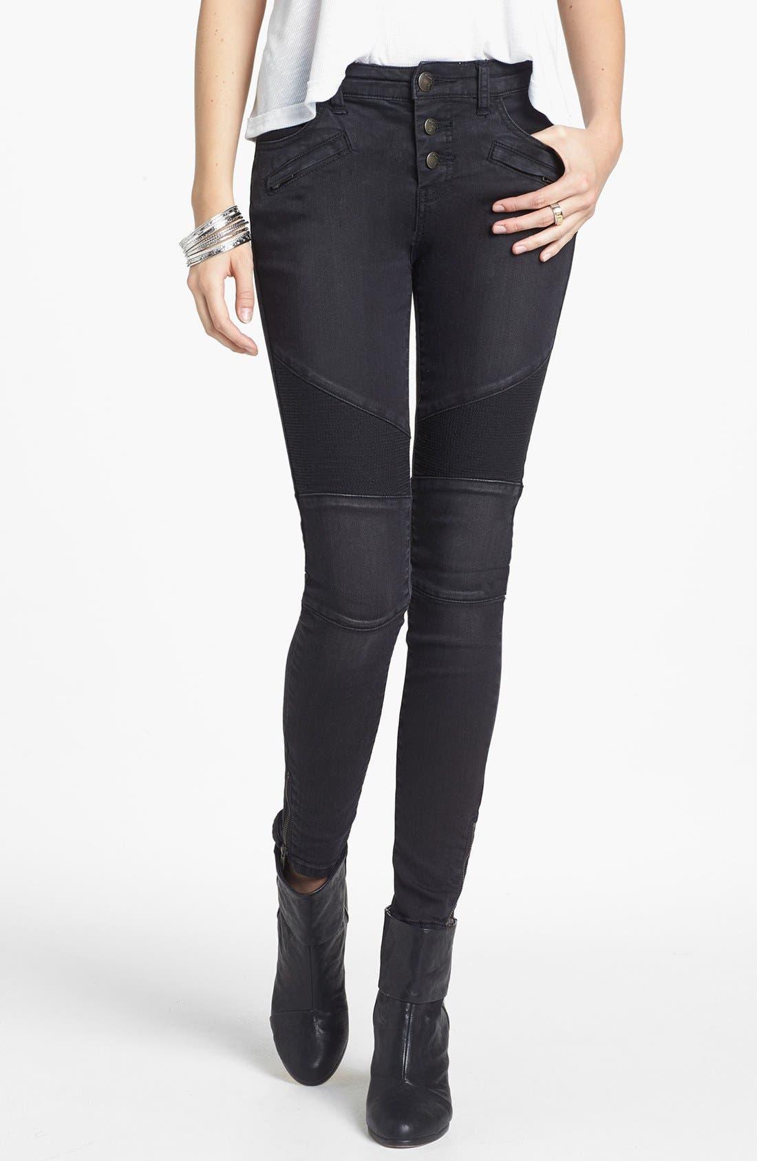 Main Image - Free People Seamed Moto Skinny Jeans (Moonlight)