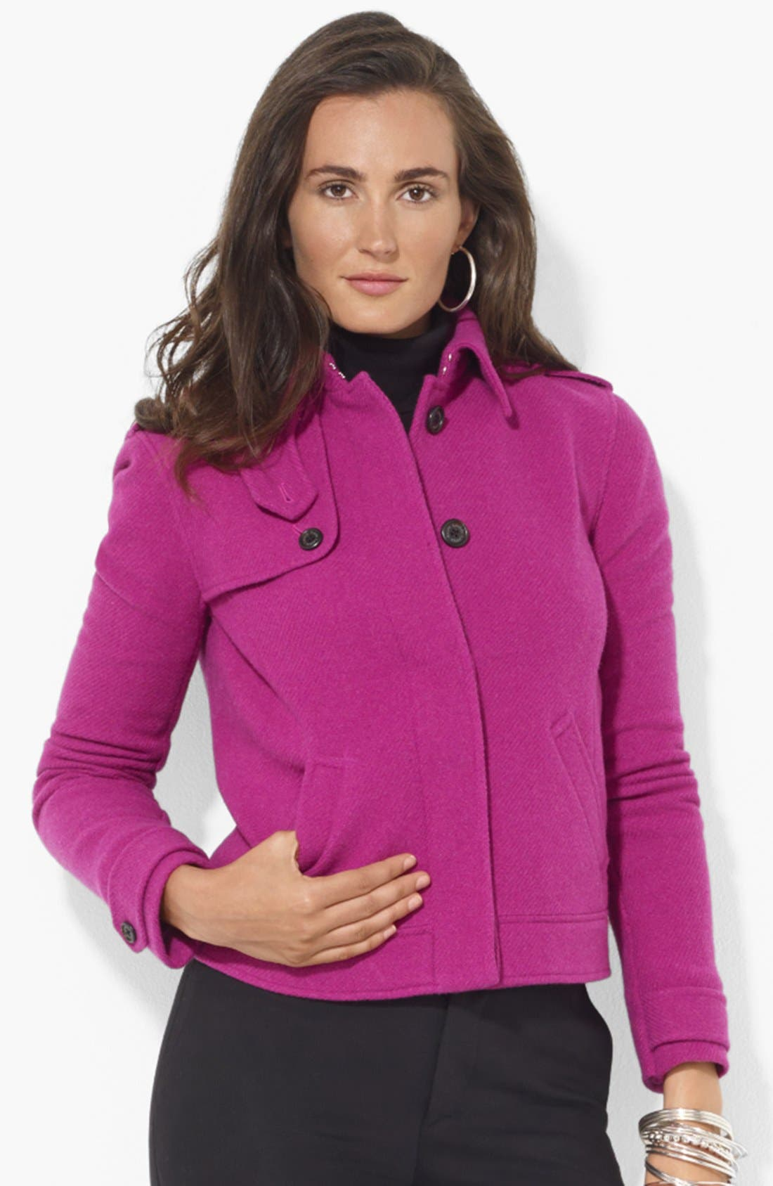 Main Image - Lauren Ralph Lauren Buttoned Wool Blend Jacket
