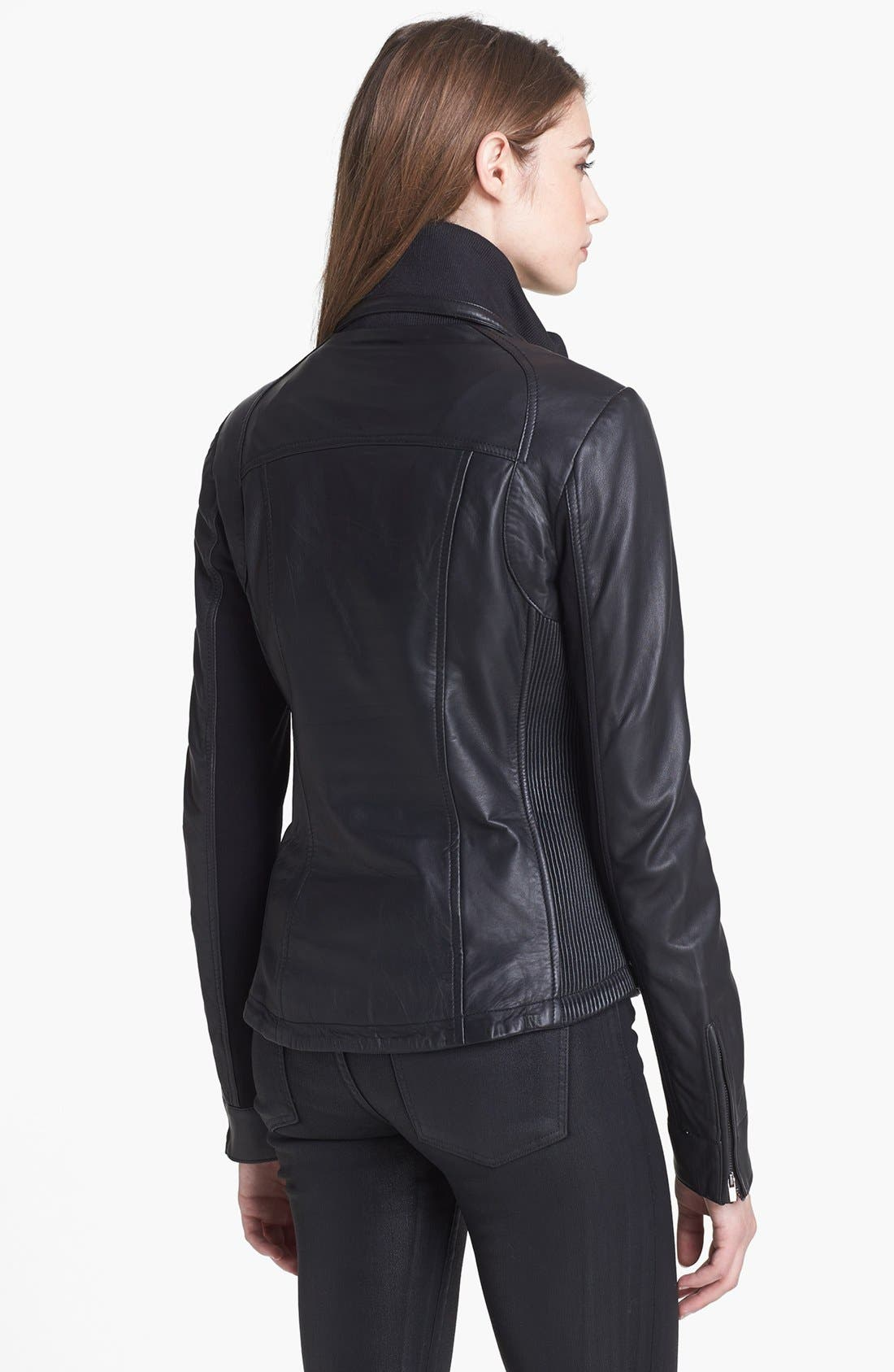 Alternate Image 2  - LaMarque Knit Collar Leather Jacket