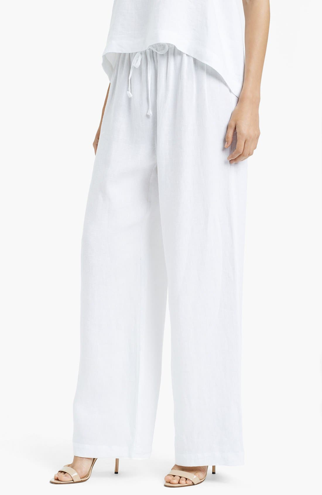 Alternate Image 1 Selected - eskandar Lightweight Linen Drawstring Trousers