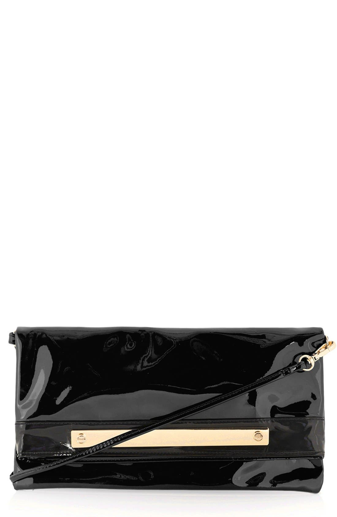 Main Image - Topshop Faux Patent Leather Clutch