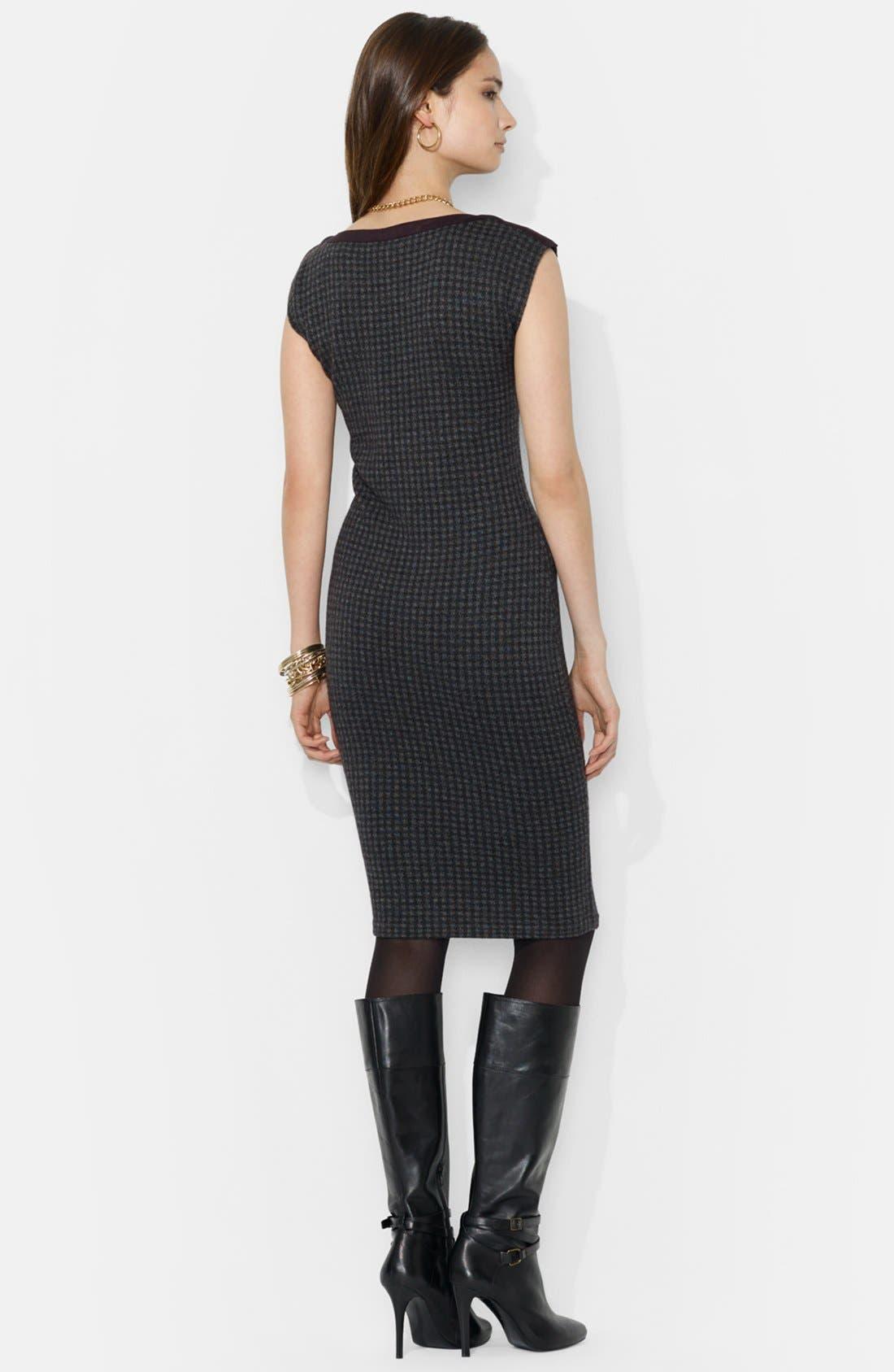 Alternate Image 2  - Lauren Ralph Lauren Houndstooth Boatneck Dress (Petite)
