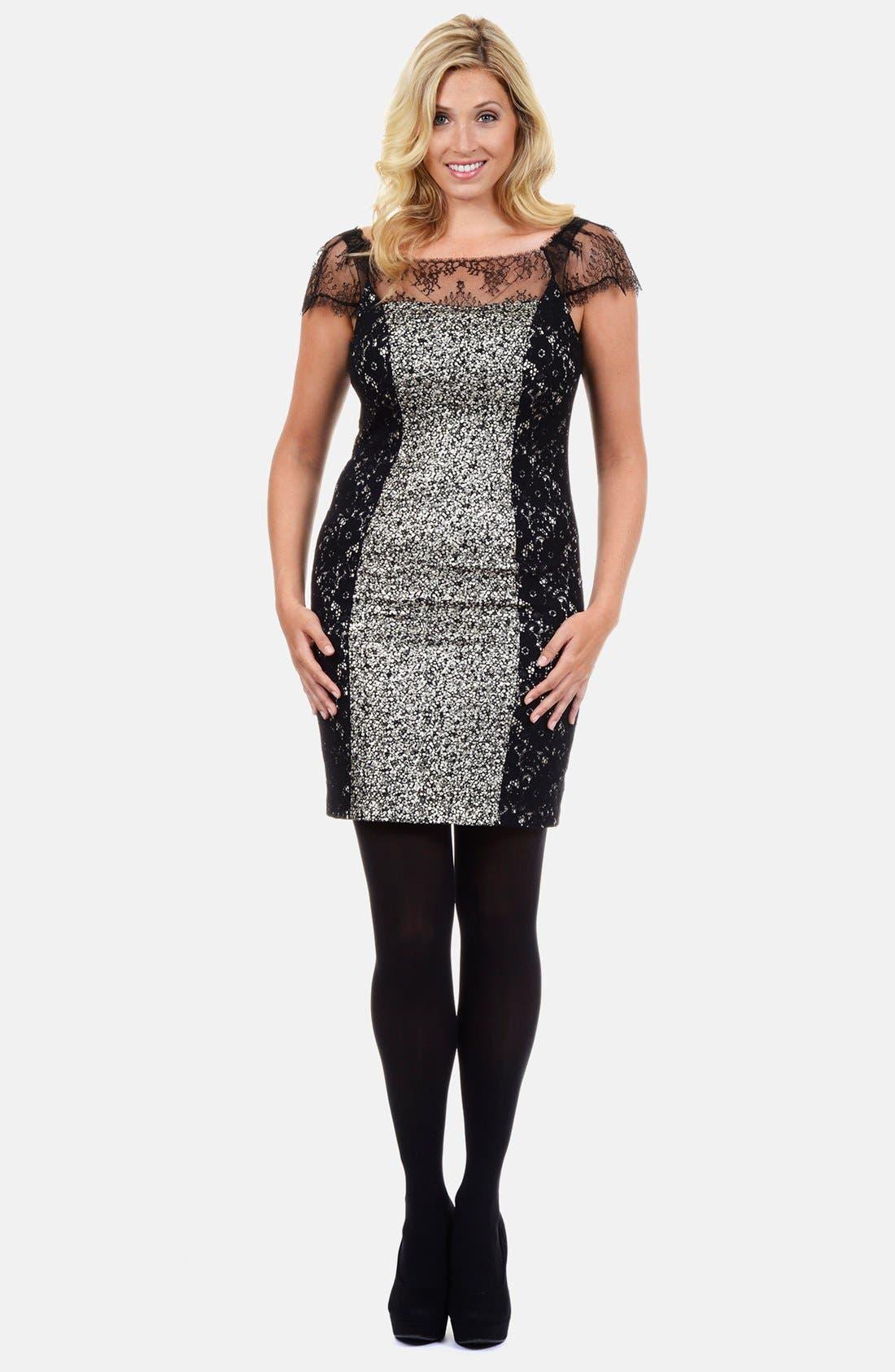 Alternate Image 1 Selected - Kay Unger Lace Paneled & Foiled Knit Sheath Dress (Plus Size)