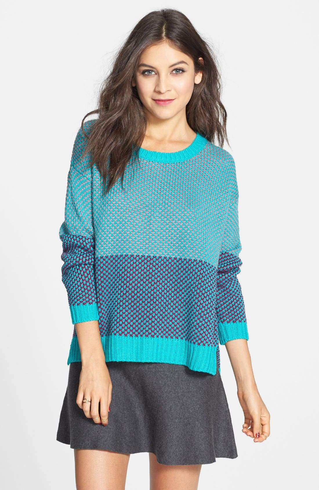 Alternate Image 1 Selected - Love By Design Colorblock Pullover (Juniors)