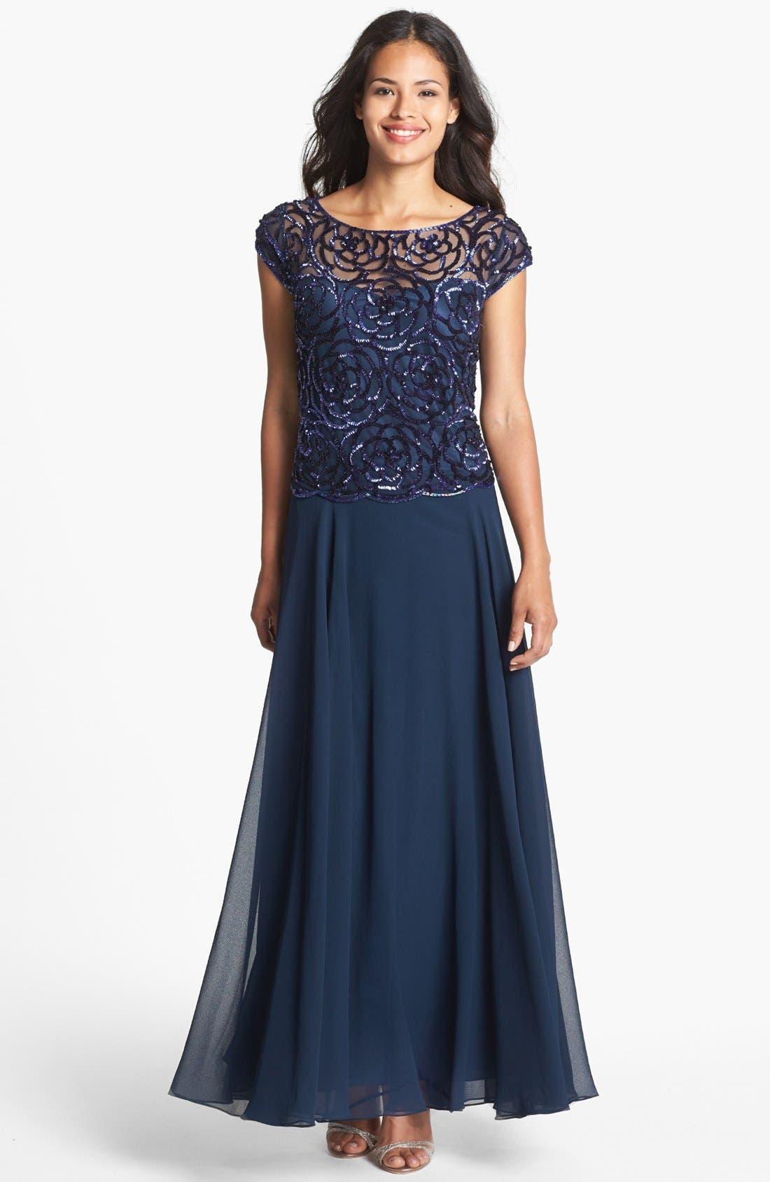 Main Image - J Kara Sequin Floral Cap Sleeve Gown