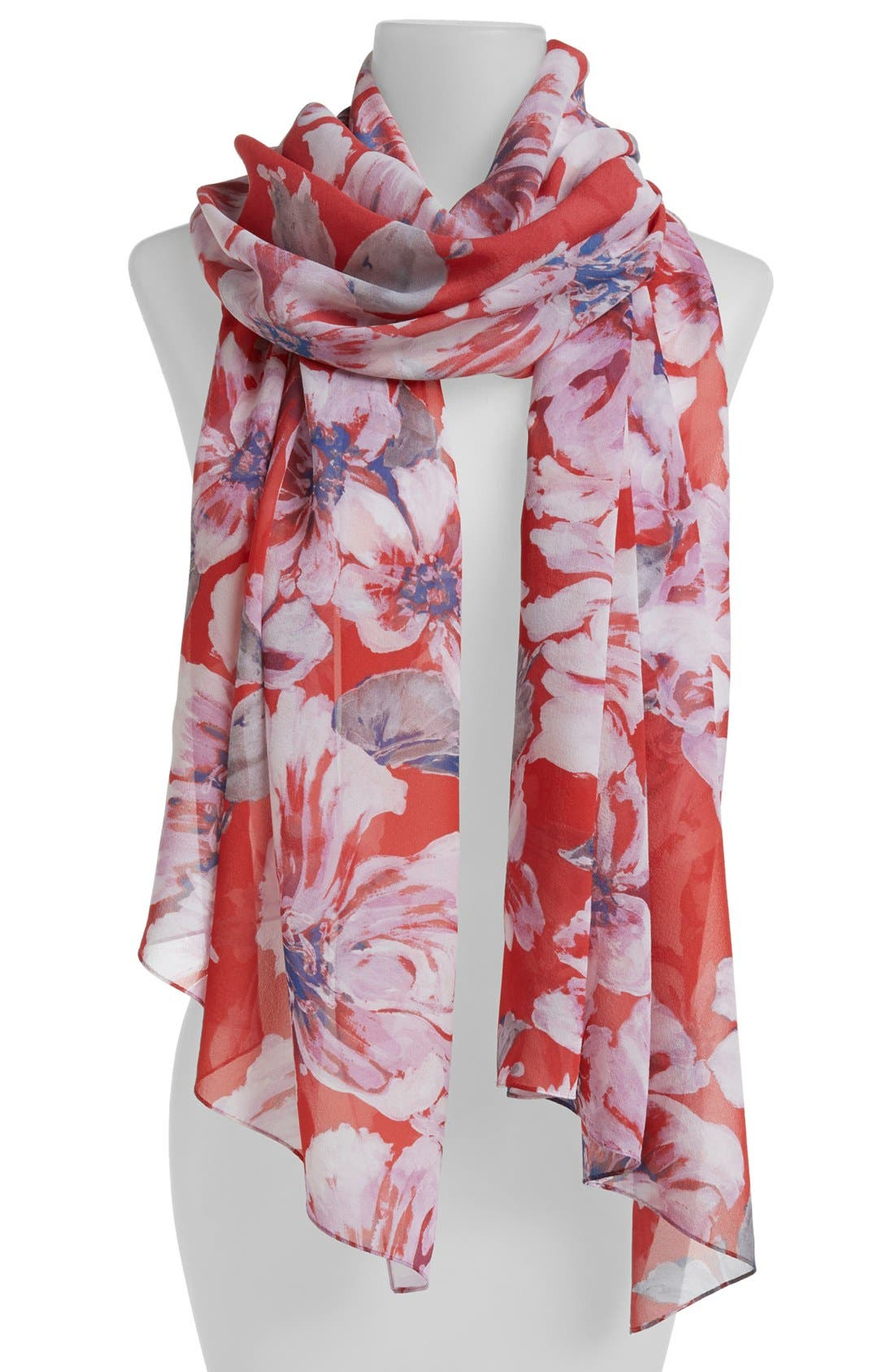 Main Image - St. John Collection Vibrant Floral Print Silk Georgette Scarf