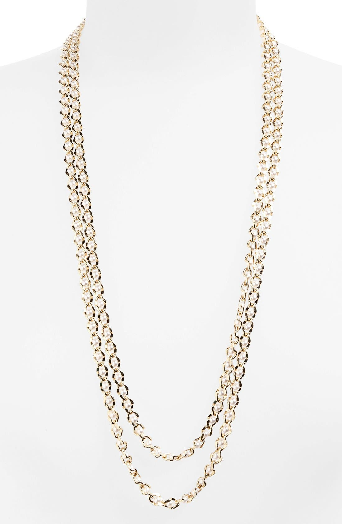 Main Image - Natasha Couture Faux Pearl Chain Necklace