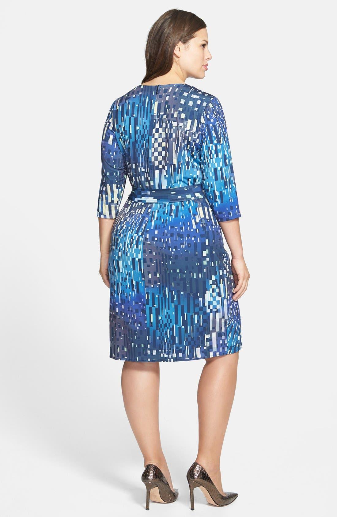 Alternate Image 2  - Ivy & Blu Print Faux Wrap Dress (Plus Size)