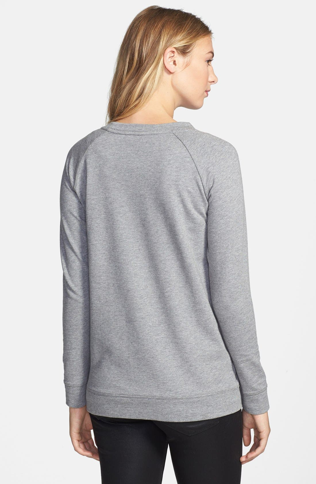 Alternate Image 2  - Two by Vince Camuto Embellished Raglan Sleeve Cotton Blend Sweatshirt