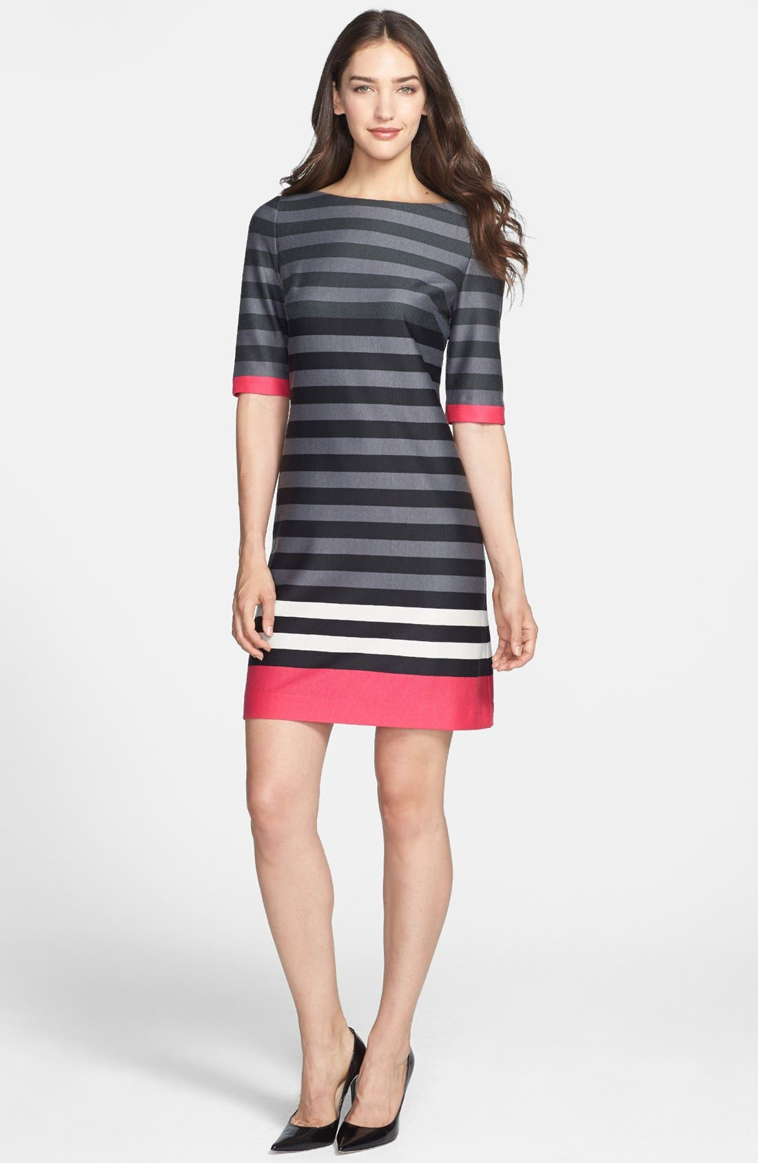 Alternate Image 1 Selected - Eliza J Stripe Ponte Shift Dress