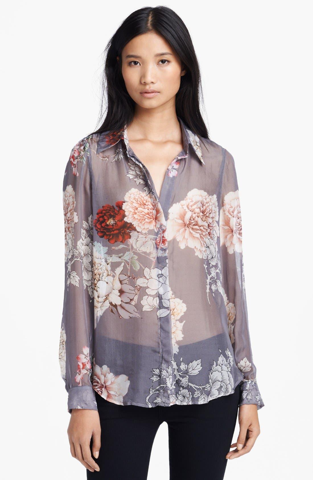 Alternate Image 3  - L'AGENCE Floral Print Silk Blouse