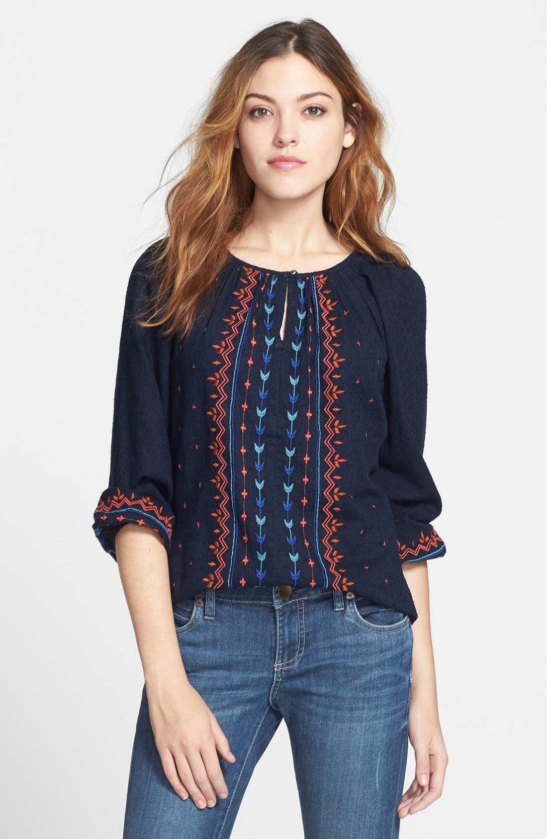Alternate Image 1 Selected - Lucky Brand Embroidered Silk & Cotton Peasant Top