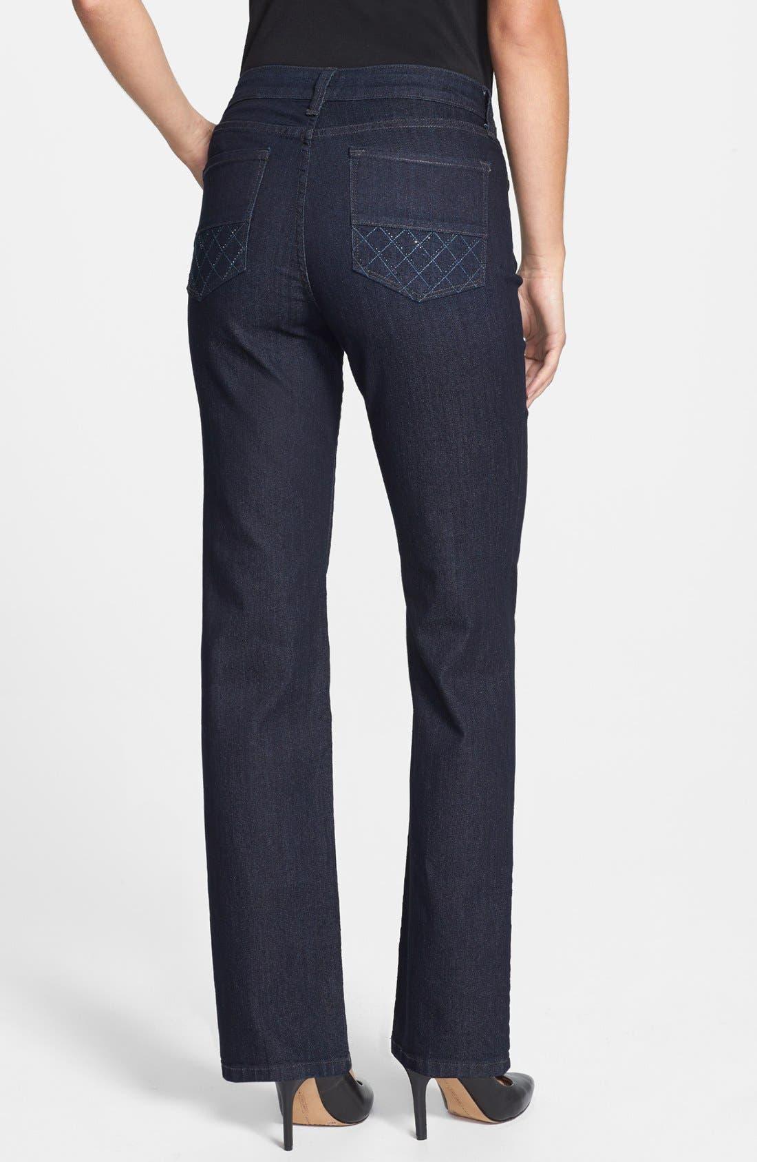 Alternate Image 2  - NYDJ 'Marilyn' Straight Leg Jeans (Dark Enzyme) (Petite)