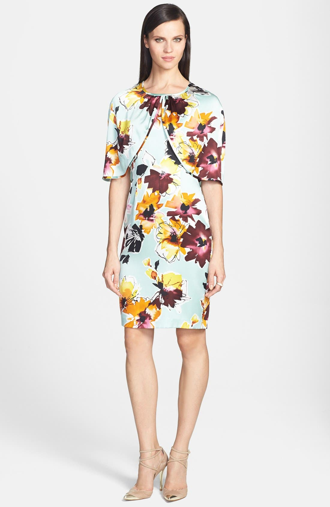 Main Image - St. John Collection Floral Print Silk Charmeuse Dress with Capelet