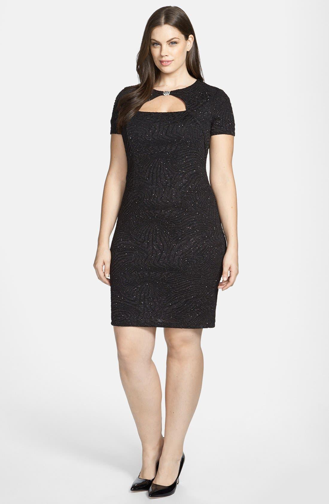 Main Image - London Times Embellished Sparkle Plissé Sheath Dress (Plus Size)