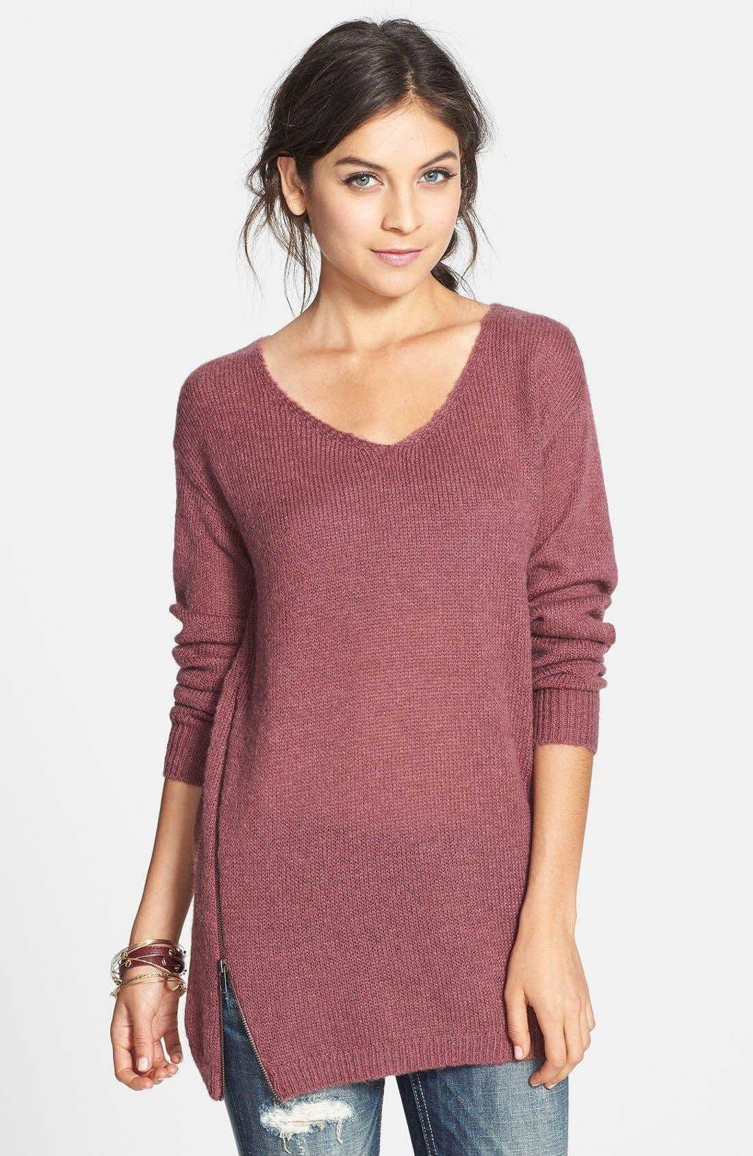 Main Image - BP. Side Zip Tunic Sweater (Juniors)