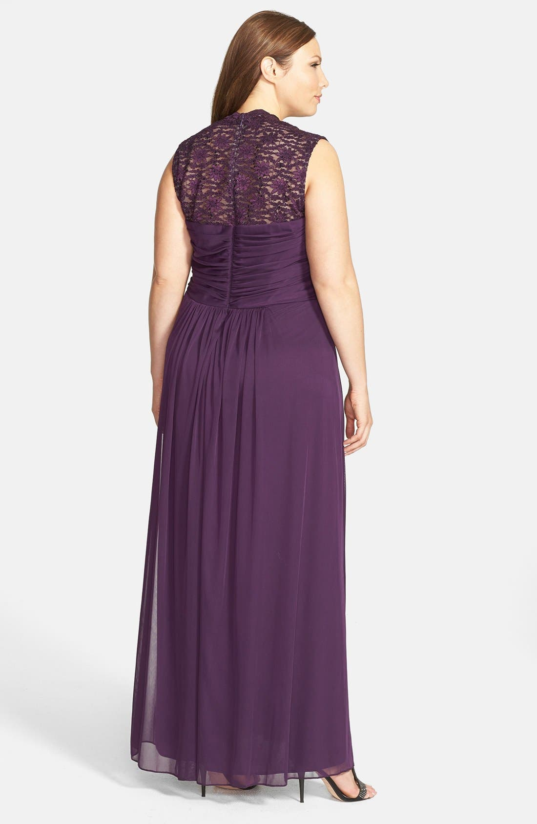 Alternate Image 2  - Xscape Lace Yoke Ruched Jersey Gown (Plus Size)