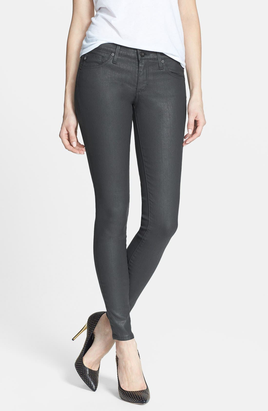 Main Image - AG 'The Absolute Legging' Coated Skinny Jeans (Dark Grey)