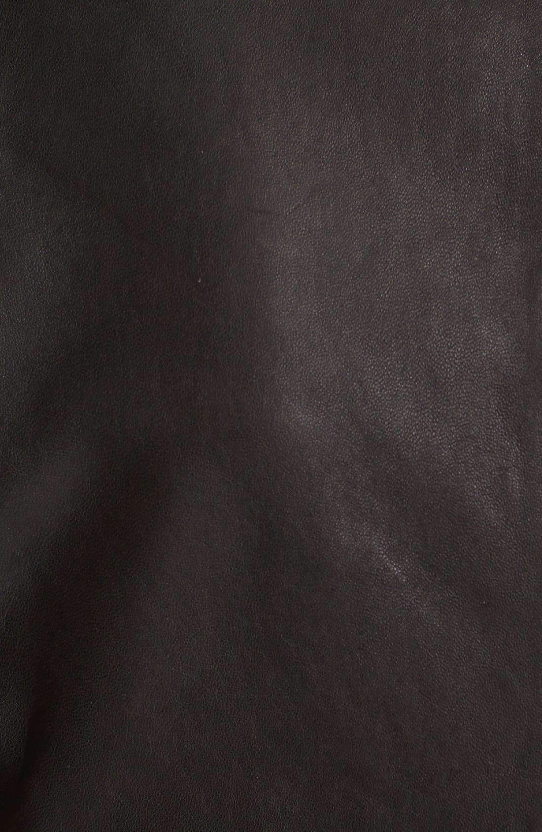 Alternate Image 4  - Vince Side Zip Leather Jacket with Ponte Contrast