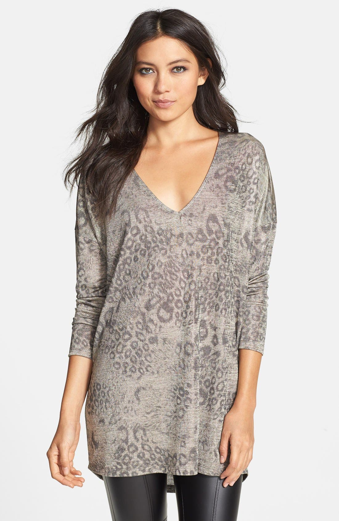 Main Image - June & Hudson Metallic Cheetah V-Neck Tunic