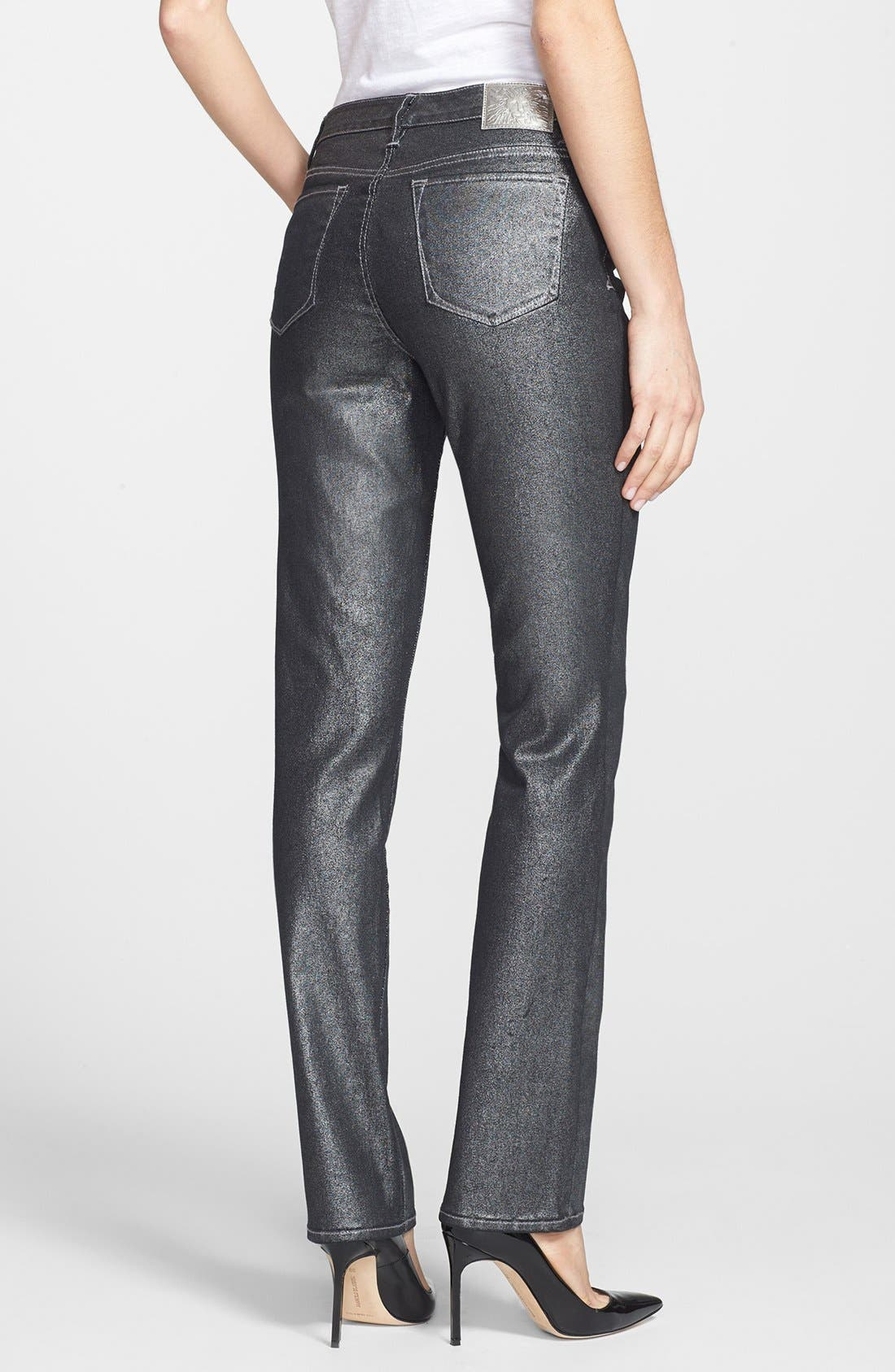 Alternate Image 2  - Anne Klein Metallic Straight Leg Jeans (Petite)