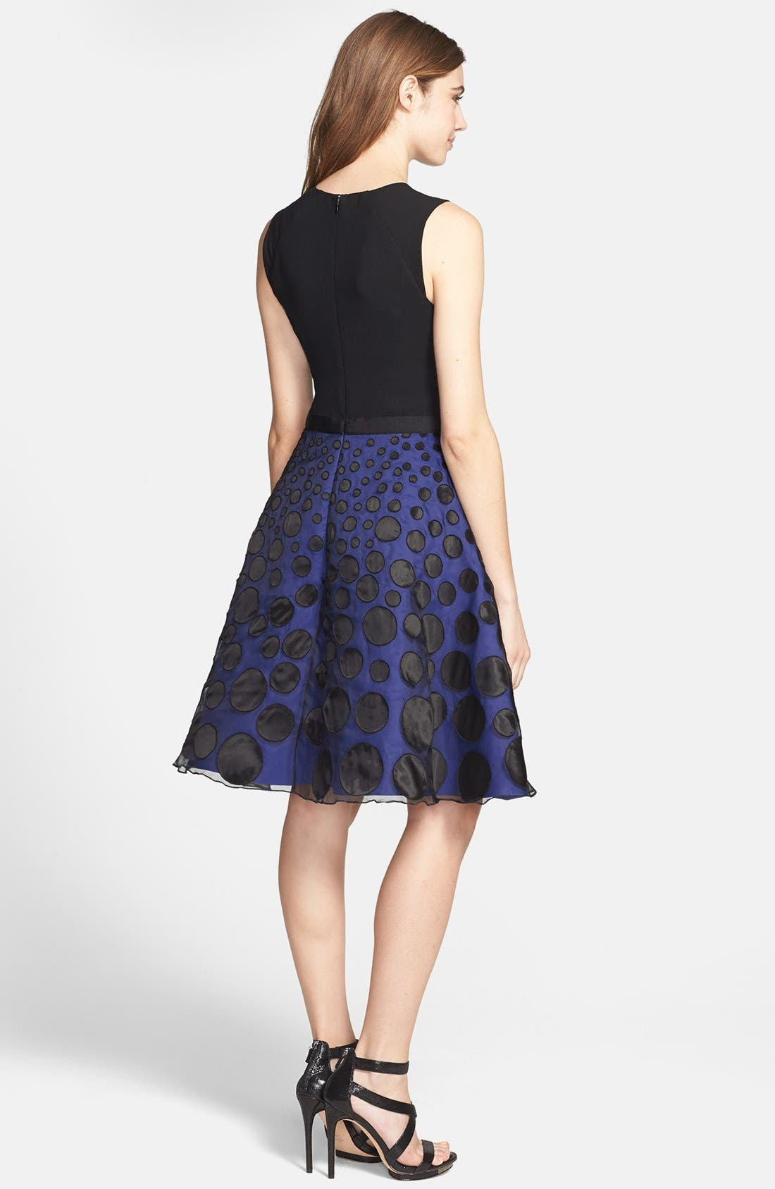Alternate Image 2  - Halston Heritage Mixed Media Fit & Flare Dress