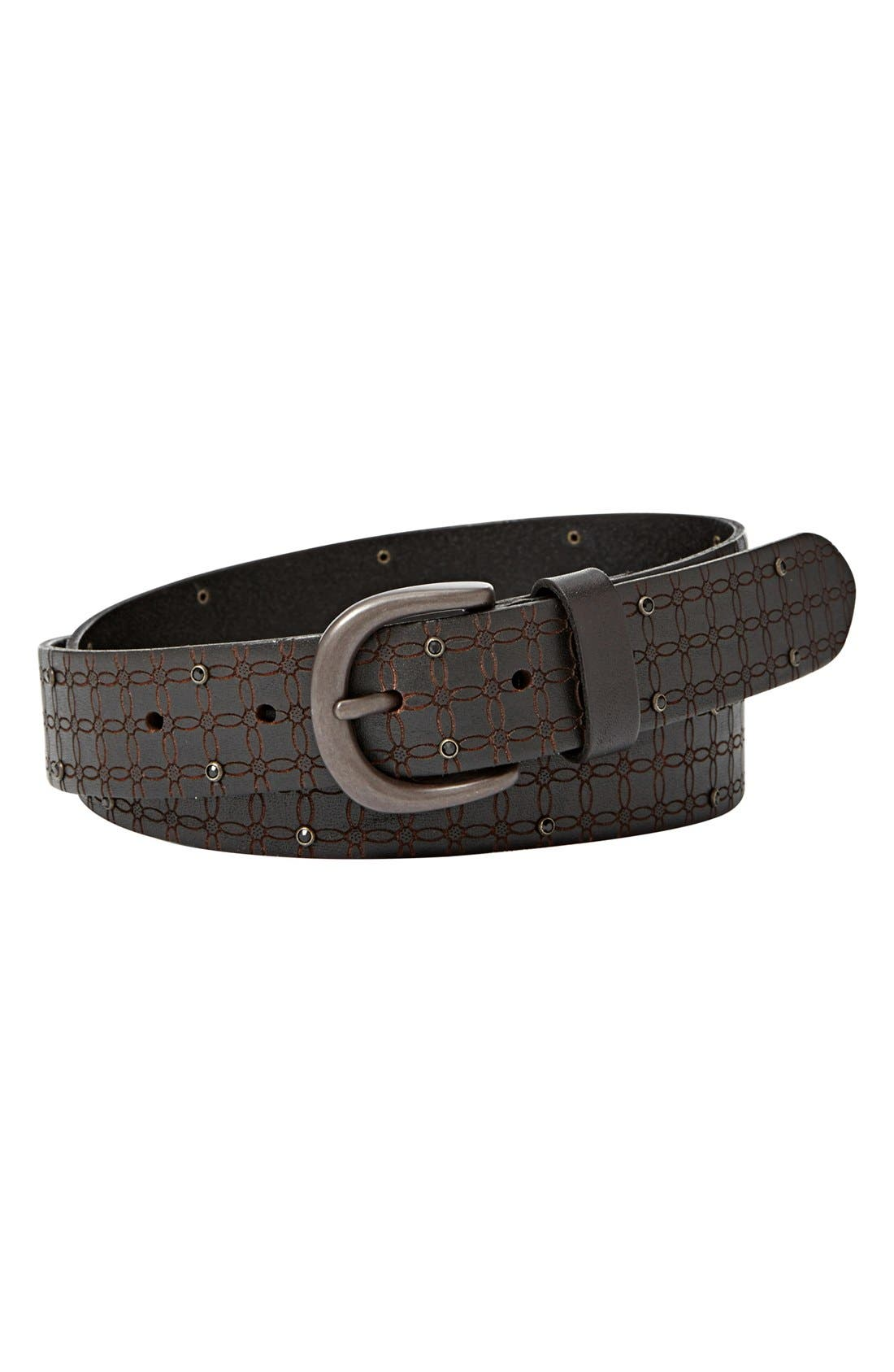 Main Image - Fossil Crystal Accent Leather Belt