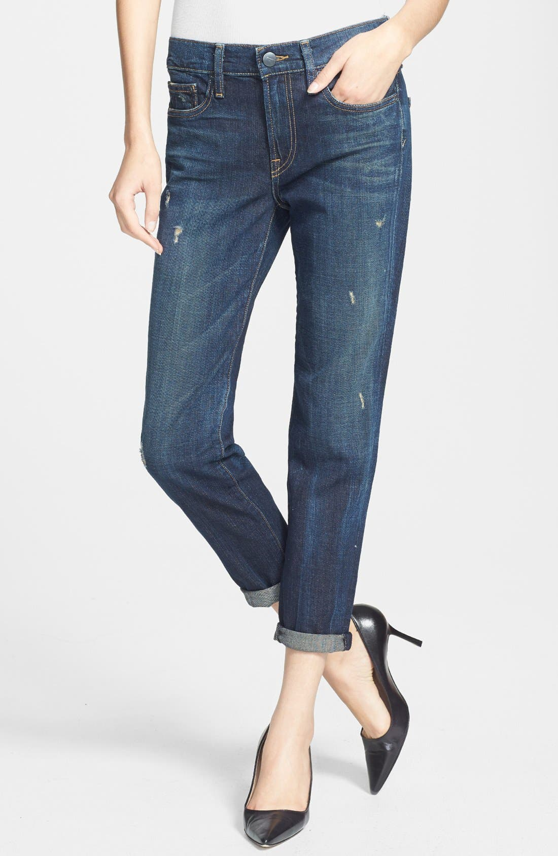 Alternate Image 1 Selected - Vince Destroyed Rolled Relaxed Leg Jeans (Destructed Dark Crimson)