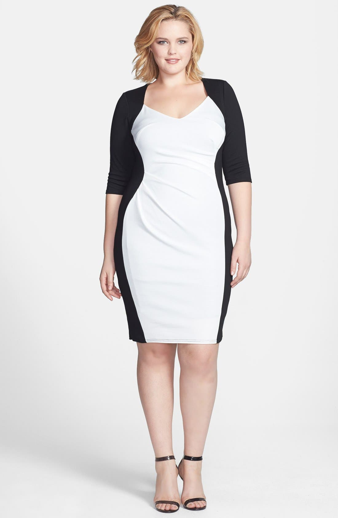 Main Image - Scarlett & Jo Side Pleat Colorblock Sheath Dress (Plus Size)