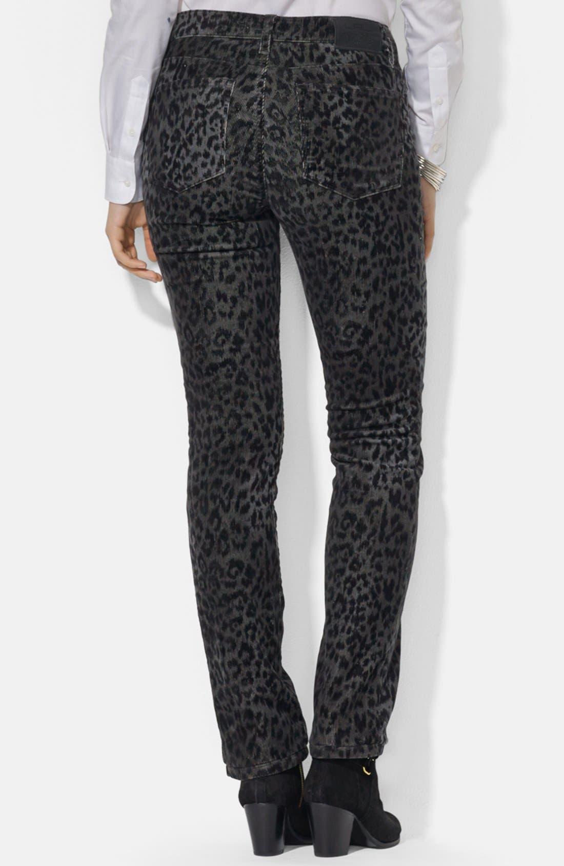 Alternate Image 2  - Lauren Ralph Lauren Straight Leg Print Corduroy Pants (Petite)