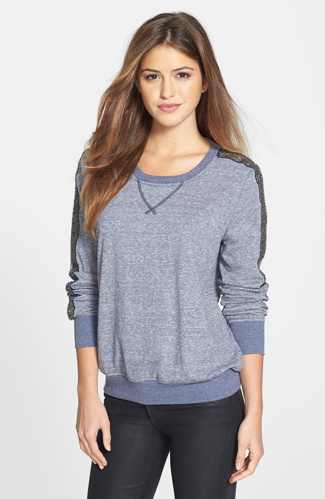 Main Image - Olivia Moon Embellished Sleeve French Terry Pullover