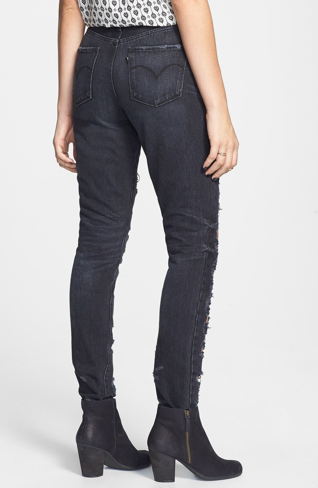 Alternate Image 2  - Levi's® Shredded High Waist Skinny Jeans (Black)