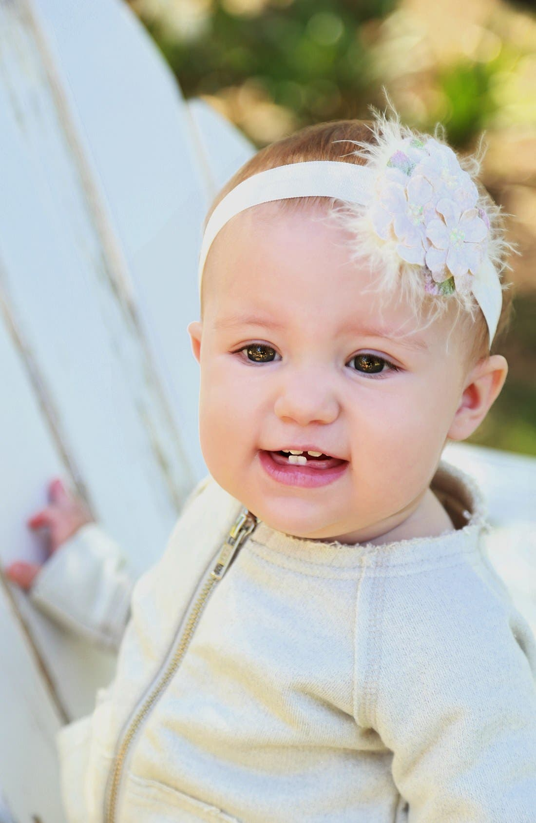 Alternate Image 2  - PLH Bows & Laces Flowers Headband (Baby Girls)