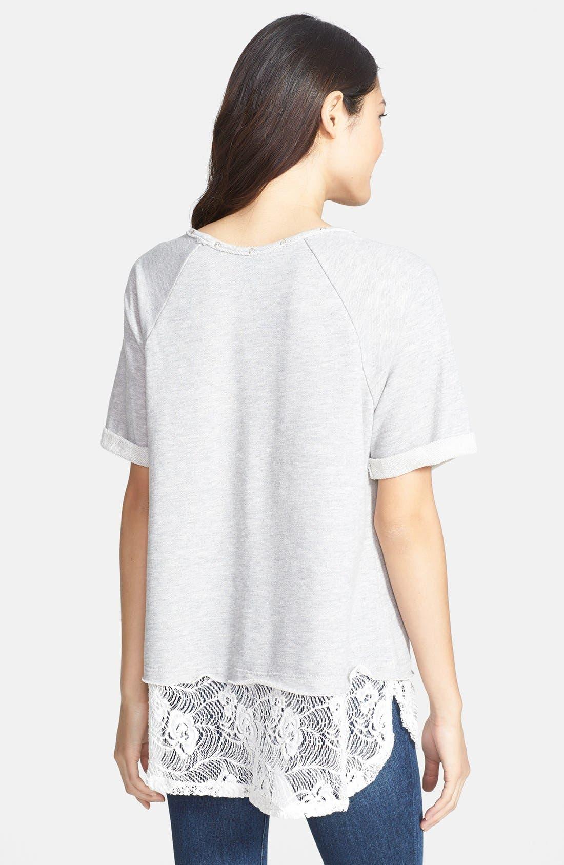 Alternate Image 2  - Bobeau Lace Bottom Sweatshirt