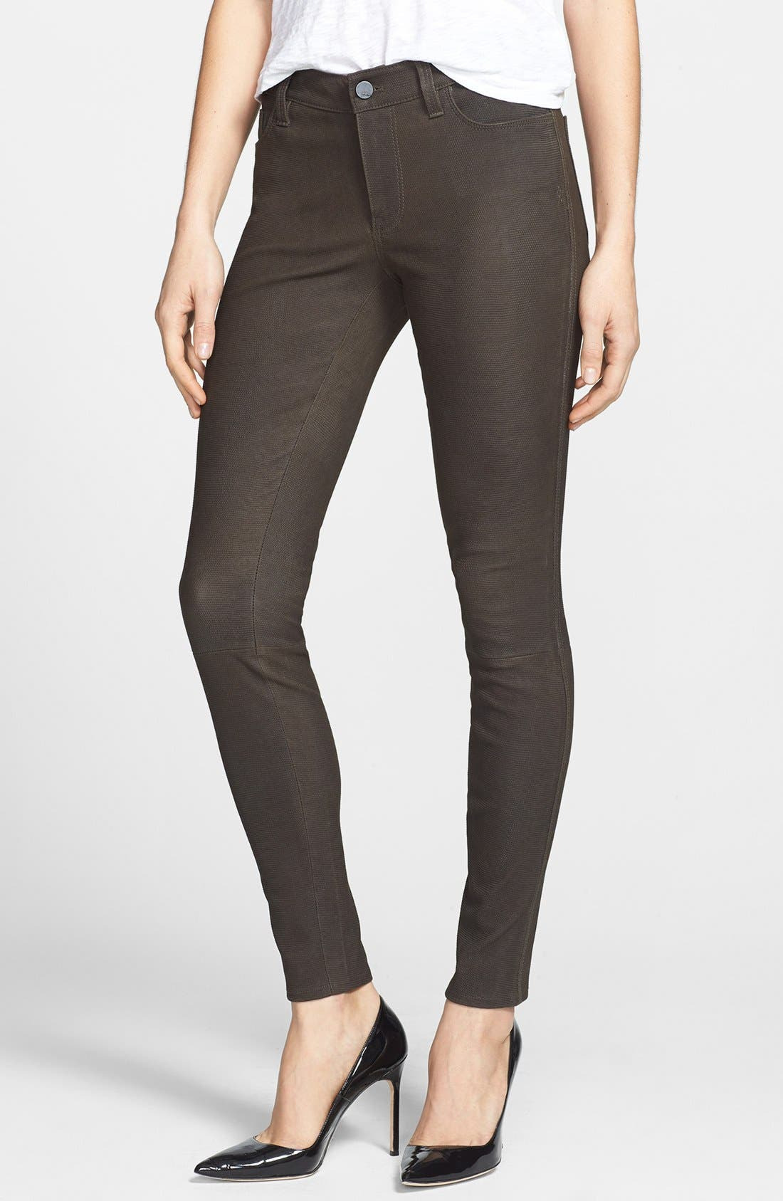 Alternate Image 1 Selected - Genetic 'Shya' Suede Cigarette Jeans (Deep Olive)