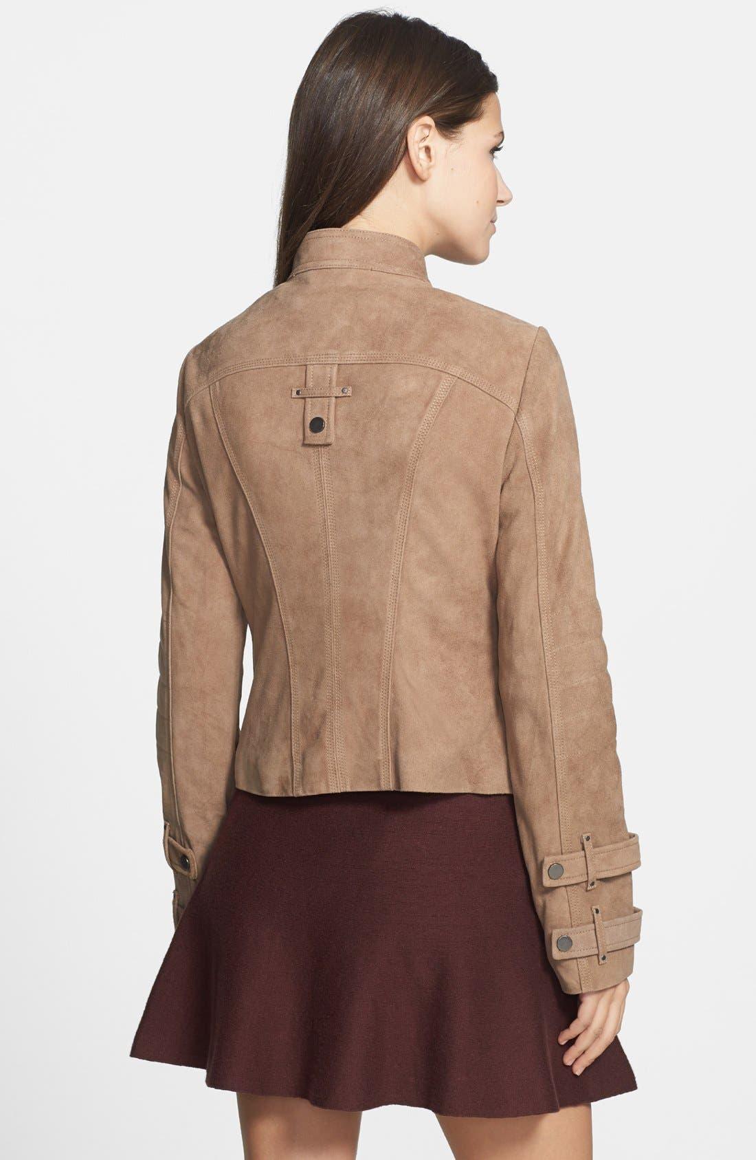 Alternate Image 2  - Blanc Noir Suede Moto Jacket (Online Only)